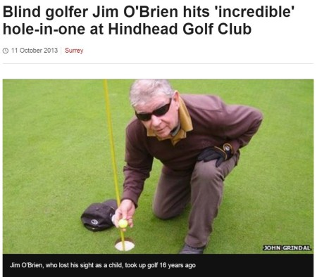 Hole-in-one for blind golfer