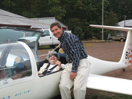 Coping with vision loss - Jane Henkler and son, Ed after her first glider ride